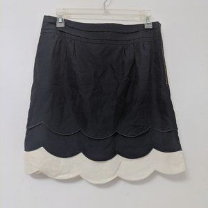 Anthropologie Floreat Navy Scalloped Clouds Skirt